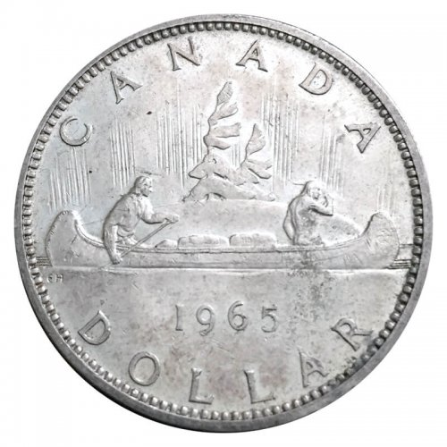 1965 Canadian $1 Voyageur Silver Dollar Coin (EF or better)