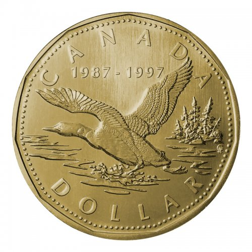 1997 (1987-) Canadian $1 Flying Loon 10th Anniv Dollar Proof-like (PL) Coin