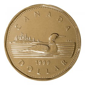 1999 Canadian $1 Common Loon Dollar Proof-like (PL) Coin