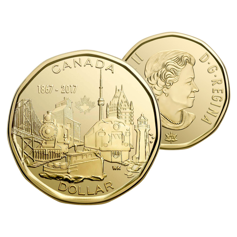 2017 Brilliant Uncirculated Loonie from original mint roll