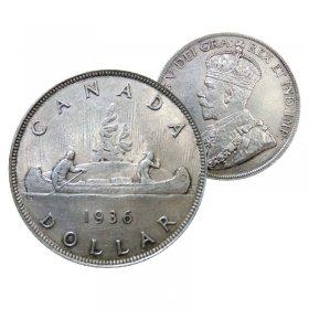 1936 Canadian $1 Voyageur Silver Dollar Coin (VF - EF )