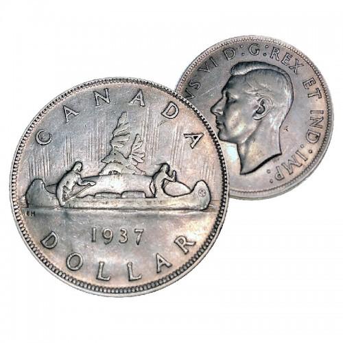 1937 Canadian $1 Voyageur Silver Dollar Coin (VF - EF)