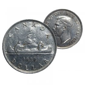 1938 Canadian $1 Silver Dollar - Voyageurs Coin (F - VF)