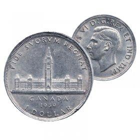 1939 Canadian $1 Royal Visit Commemorative Silver Dollar Coin (VF - EF)