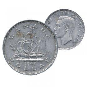1949 Canadian $1 Newfoundland Commemorative Silver Dollar Coin (VF - EF)