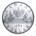 1963 Canadian $1 Voyageur Silver Dollar Coin (EF or better)