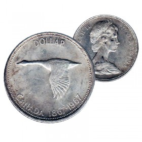1967 (1867-) Canadian $1 Goose Confederation Centennial Silver Dollar Coin (EF or better)