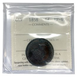 1858 Canadian 1-Cent Large Penny Coin ICCS Graded EF-40