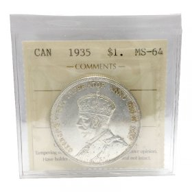 1935 Canadian $1 Voyageur/25th Anniv Commemorative Silver