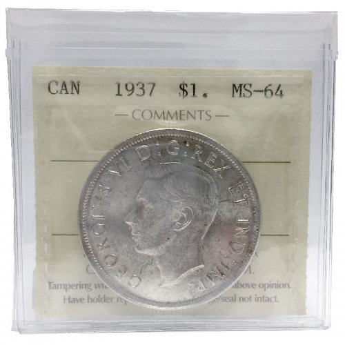 1937 Canadian $1 Voyageur Silver Dollar Coin ICCS Graded MS-64