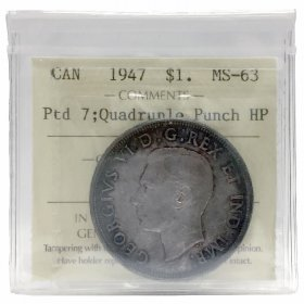 1947 POINTED 7 QUAD HP Canadian $1 Voyageur Silver Dollar Coin ICCS Graded MS-63