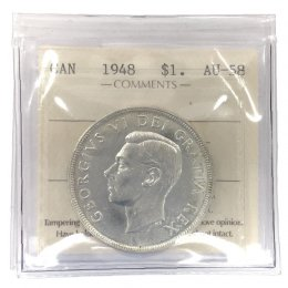 1948 Canadian $1 Voyageur Silver Dollar Coin ICCS Graded AU-58