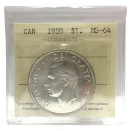 1950 Canadian $1 Voyageur Silver Dollar Coin ICCS Graded MS-64