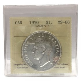 1950 SHORT WATER LINES (SWL) Canadian $1 Voyageur Silver Dollar Coin ICCS Graded MS-60