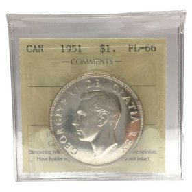 1951 Canadian $1 Voyageur Proof-like Uncirculated Silver Dollar Coin ICCS Graded PL-66
