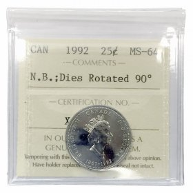 1992 (1867-) ROTATED DIES Canadian 25 Cents New Brunswick 125th Anniv Coin ICCS Graded MS-64
