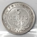 1940-C Newfoundland 5-Cent Piece Silver Coin ICCS Graded MS-64