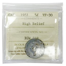 1951 HIGH RELIEF Canadian 5-Cent Beaver Steel Nickel Coin ICCS Graded VF-30