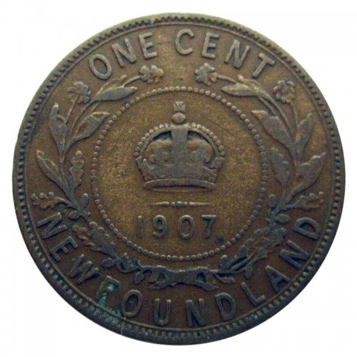 1907 Newfoundland 1-Cent Large Penny Coin (VF)