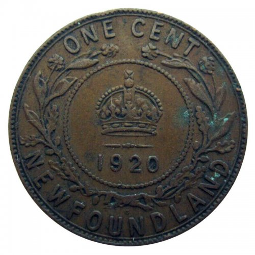 1920-C Newfoundland 1-Cent Large Penny Coin (VF)