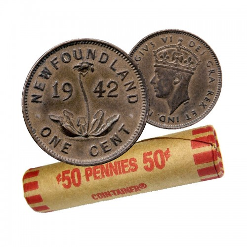 1942 Newfoundland 1-Cent Small Penny Coin Roll (Circulated)