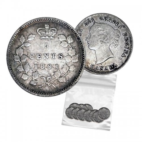 1891 Canadian 5-Cent Small Silver 10pc Coin Lot (Low Grade-Circulated)