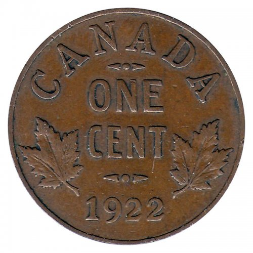 1922 Canadian 1-Cent Small Penny Coin (VG)