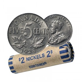 1923 Canada 5 Cents Nickel Roll (Circulated)