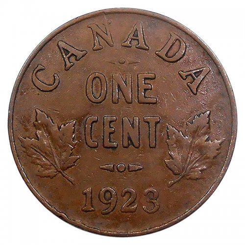 1923 Canadian 1-Cent Small Penny Coin (VG)