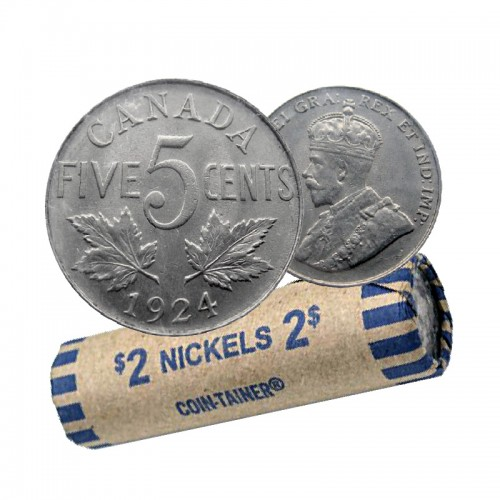 1924 Canadian 5-Cent Nickel Coin Roll (Circulated)