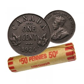 1926 Canadian 1-Cent Small Penny Coin Roll (Circulated)
