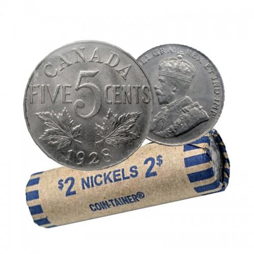 1928 Canada 5 Cents Nickel Roll (Circulated)