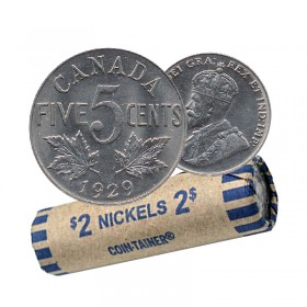 1929  Canada 5 Cents Nickel Roll (Circulated)
