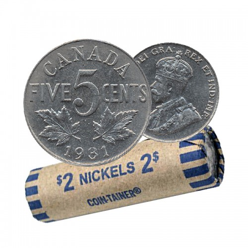 1931 Canadian 5-Cent Nickel Coin Roll (Circulated)