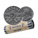 1934 Canada 5 Cents Nickel Roll (Circulated)