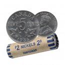 1935 Canada 5 Cents Nickel Roll (Circulated)