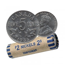 1935 Canada 5 Cents Nickel Roll (Circulated)