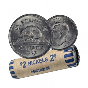 1937 Canadian 5-Cent Beaver Nickel Coin Roll (Circulated)