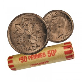 1938 Canadian 1-Cent Maple Leaf Twig Penny Coin Roll (Circulated)
