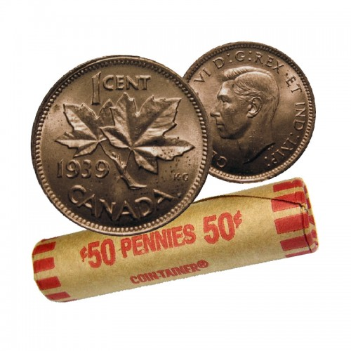 1939 Canadian 1-Cent Maple Leaf Twig Penny Coin Roll (Circulated)