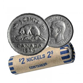 1939 Canadian 5-Cent Beaver Nickel Coin Roll (Circulated)