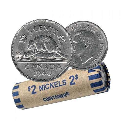 1940 Canadian 5-Cent Beaver Nickel Coin Roll (Circulated)
