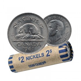 1941 Canadian 5-Cent Beaver Nickel Coin Roll (Circulated)