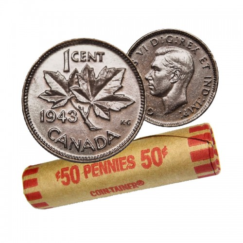 1943 Canadian 1-Cent Maple Leaf Twig Penny Coin Roll (Circulated)