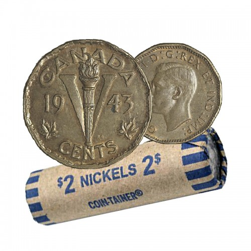 1943 TOMBAC Canadian 5-Cent Victory Coin Roll (Circulated)