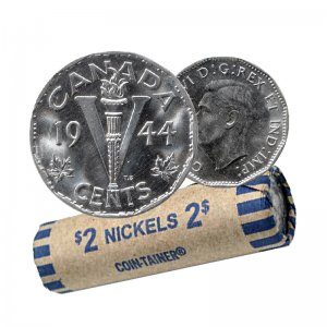 1944 Canadian 5-Cent Victory Chrome/Nickel Coin Roll (Circulated)