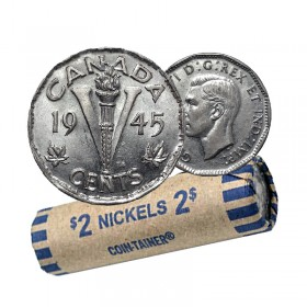 1945 Canadian 5-Cent Victory Chrome/Nickel Coin Roll (Circulated)