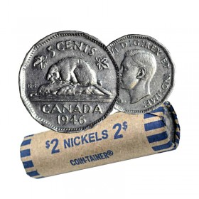 1946 Canadian 5-Cent Beaver Nickel Coin Roll (Circulated)