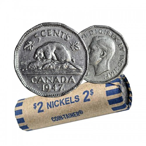 1947 MAPLE LEAF Canadian 5-Cent Beaver Nickel Coin Roll (Circulated)