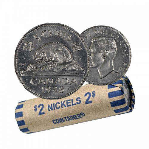 1948 Canadian 5-Cent Beaver Nickel Coin Roll (Circulated)